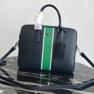 Replica Prada 2VE368 Saffiano Leather Briefcase Bag in Black Saffiano leather With Green Web