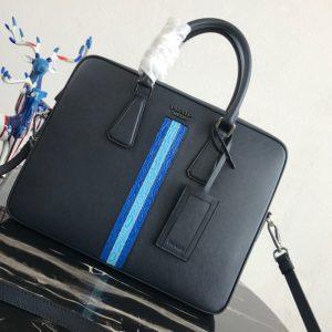 Replica Prada 2VE368 Saffiano Leather Briefcase Bag in Navy Blue Saffiano leather With Blue/Light Blue Web