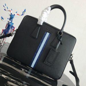 Replica Prada 2VE368 Saffiano Leather Briefcase Bag in Black Saffiano leather With Blue/Light Blue Web