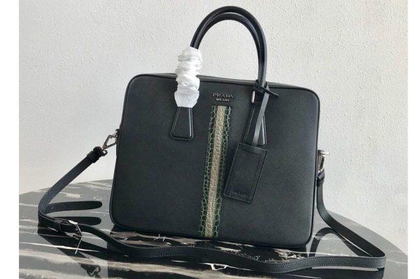 Replica Prada 2VE368 Saffiano Leather Briefcase Bag in Black Saffiano leather With Green/Beige Web