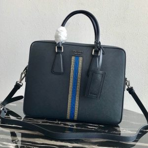 Replica Prada 2VE368 Saffiano Leather Briefcase Bag in Navy Blue Saffiano leather With Gray/Blue Web