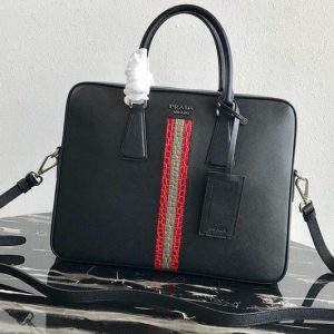 Replica Prada 2VE368 Saffiano Leather Briefcase Bag in Black Saffiano leather With Red/Gray Web