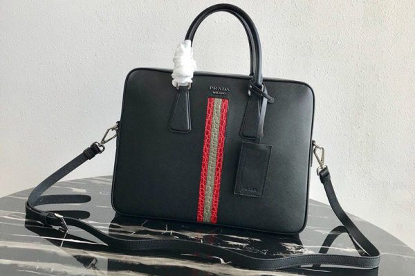 Replica Prada 2VE368 Saffiano Leather Briefcase Bag in Black Saffiano leather With Red/Gray Web