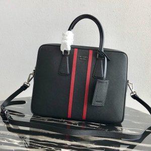 Replica Prada 2VE368 Saffiano Leather Briefcase Bag in Black Saffiano leather With Red Web