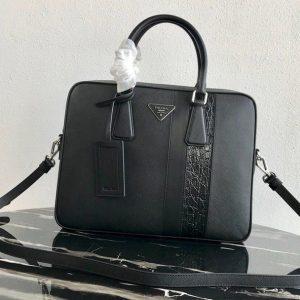 Replica Prada 2VE368 Saffiano Leather Briefcase Bag in Black Saffiano leather With Black Web