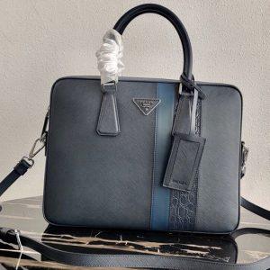 Replica Prada 2VE368 Saffiano Leather Briefcase Bag in Navy Blue Saffiano leather With Blue Web