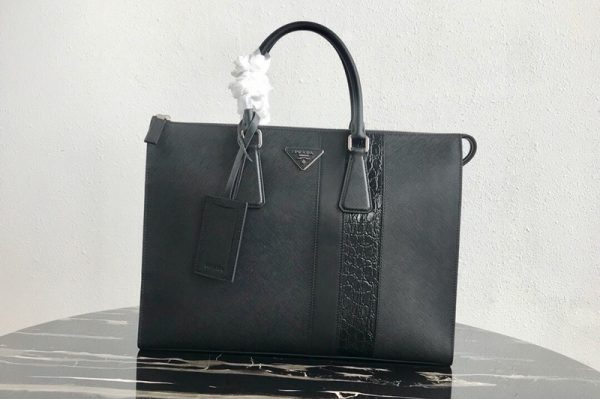 Replica Prada 2VG039 Saffiano Leather Tote Bag in Navy Blue Saffiano leather