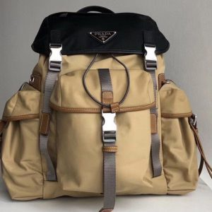 Replica Prada 2VZ074 Nylon Backpack in Black and Apricot Technical fabric
