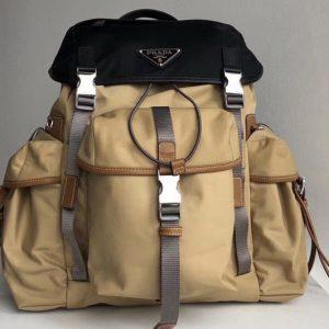 Replica Prada 2VZ074 Nylon Backpack in Black and Apricot Technical fabric