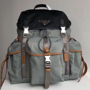 Replica Prada 2VZ074 Nylon Backpack in Black and Gray Technical fabric