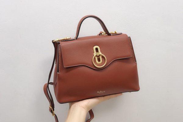 Replica Mulberry HH5059 Mini Seaton Bag in Brown Small Classic Grain
