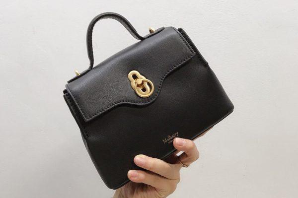 Replica Mulberry HH5059 Mini Seaton Bag in Black Small Classic Grain