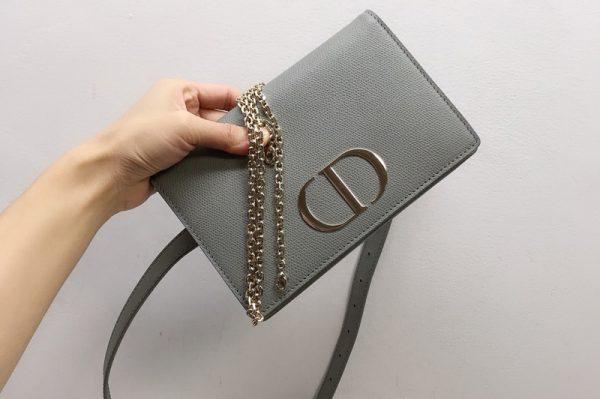 Replica Christian Dior 30 Montaigne 2-in-1 pouch S2086 in Gray Calfskin