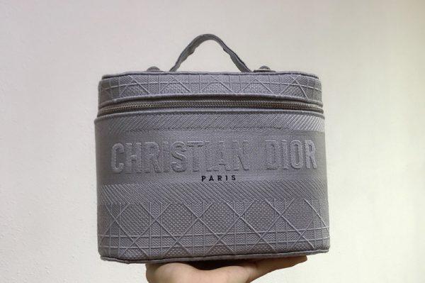 Replica Christian Dior S5417 Diortravel Vanity Case in Light Blue Dior Oblique Canvas