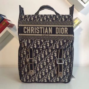 Replica Dior M1293 Embroidered Canvas Backpack in Blue Dior Oblique embroidered canvas
