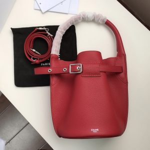 Replica Celine 187243 Big Bag Nano Bucket Bag in Red Smooth Calfskin Leather