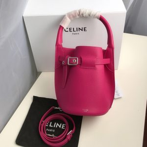Replica Celine 187243 Big Bag Nano Bucket Bag in Raspberry Smooth Calfskin Leather