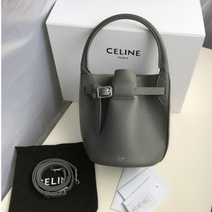 Replica Celine 187243 Big Bag Nano Bucket Bag in Gray Smooth Calfskin Leather
