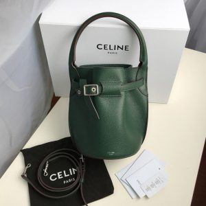 Replica Celine 187243 Big Bag Nano Bucket Bag in Green Smooth Calfskin Leather