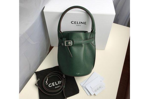 Replica Celine 187243 Big Bag Nano Bucket Bag in Green Smooth Calfskin Leather