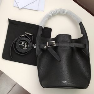 Replica Celine 187243 Big Bag Nano Bucket Bag in Black Smooth Calfskin Leather