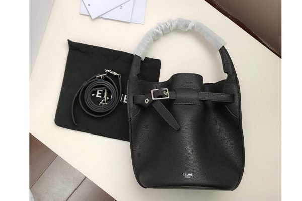 Replica Celine 187243 Big Bag Nano Bucket Bag in Black Smooth Calfskin Leather