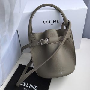Replica Celine 187243 Big Bag Nano Bucket Bag in Light Khaki Smooth Calfskin Leather