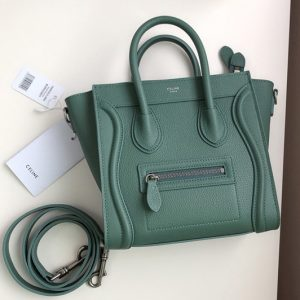 Replica Celine 189243 Nano Luggage Bag in Celadon Drummed Calfskin Leather