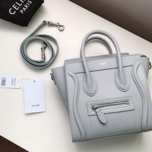 Replica Celine 189243 Nano Luggage Bag in Gray Drummed Calfskin Leather