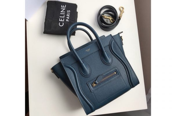 Replica Celine 189243 Nano Luggage Bag in Petrol Drummed Calfskin Leather