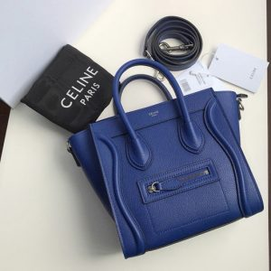 Replica Celine 189243 Nano Luggage Bag in Blue Drummed Calfskin Leather