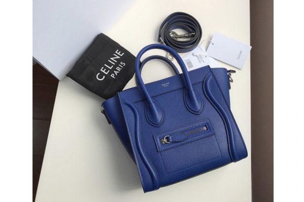 Replica Celine 189243 Nano Luggage Bag in Blue Drummed Calfskin Leather