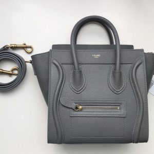 Replica Celine 189243 Nano Luggage Bag in Dark Gray Drummed Calfskin Leather