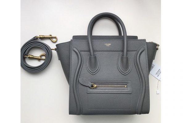 Replica Celine 189243 Nano Luggage Bag in Dark Gray Drummed Calfskin Leather
