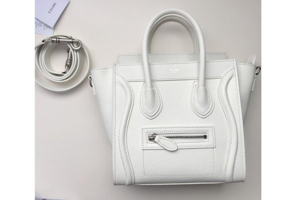 Replica Celine 189243 Nano Luggage Bag in White Drummed Calfskin Leather