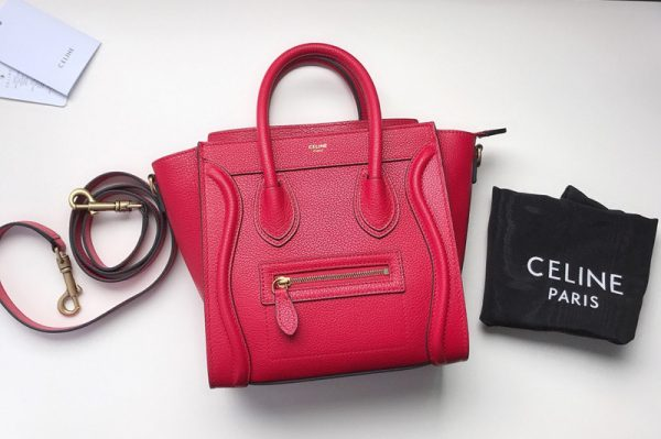 Replica Celine 189243 Nano Luggage Bag in Raspberry Drummed Calfskin Leather