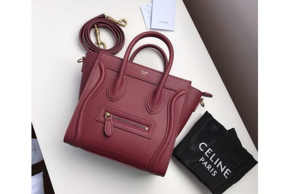 Replica Celine 189243 Nano Luggage Bag in Burgundy Drummed Calfskin Leather