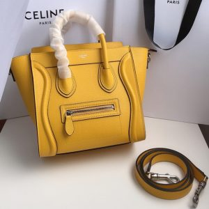 Replica Celine 189243 Nano Luggage Bag in Yellow Drummed Calfskin Leather