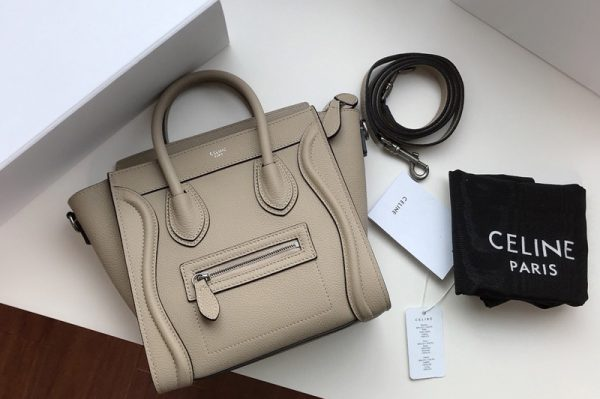 Replica Celine 189243 Nano Luggage Bag in Light Gray Drummed Calfskin Leather