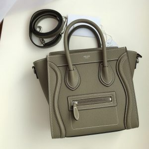Replica Celine 189243 Nano Luggage Bag in Souris Drummed Calfskin Leather
