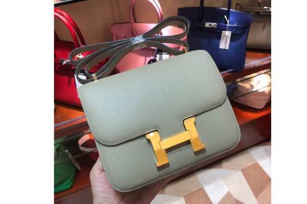 Replica Hermes constance 18 Bag in Green Epsom Leather with Gold Buckle