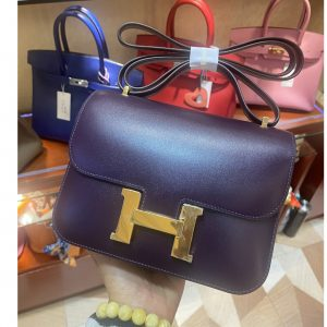 Replica Hermes constance 18 Bag in Purple Box Leather with Gold Buckle