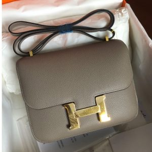 Replica Hermes constance 18 Bag in Khaki Epsom Leather with Gold Buckle