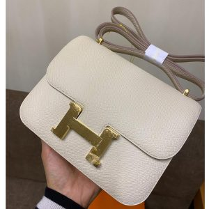 Replica Hermes constance 19 Bag in White Epsom Leather with Gold Buckle