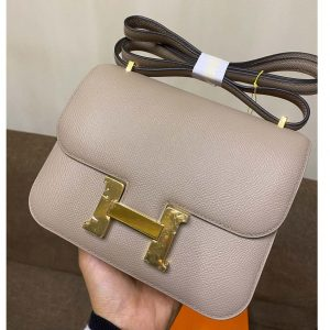 Replica Hermes constance 19 Bag in Gray Epsom Leather with Gold Buckle