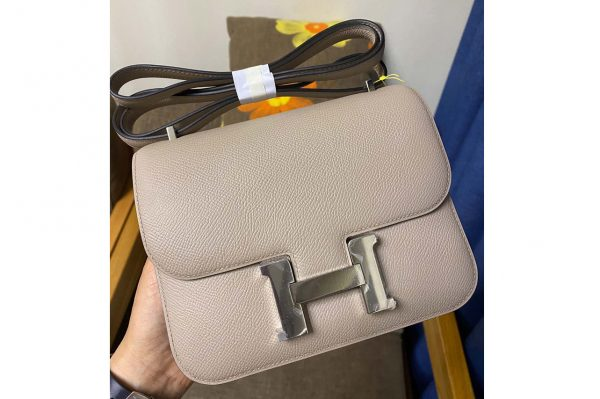 Replica Hermes constance 19 Bag in Gray Epsom Leather with Silver Buckle