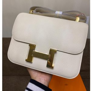 Replica Hermes constance 23 Bag in White Epsom Leather with Gold Buckle
