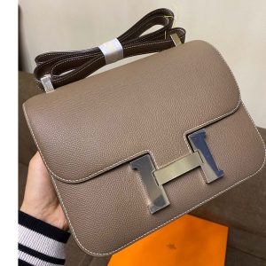 Replica Hermes constance 23 Bag in Elephant Gray Epsom Leather with Silver Buckle
