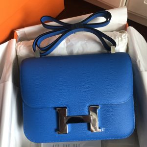 Replica Hermes constance 24 Bag in Blue Epsom Leather with Silver Buckle