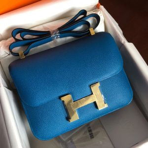 Replica Hermes constance 24 Bag in Blue Epsom Leather with Gold Buckle